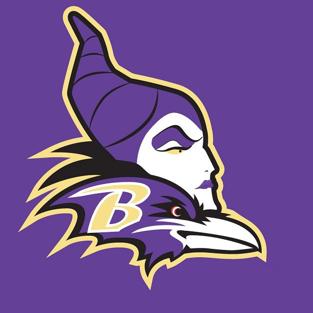 Maleficent Baltimore Ravens logo iron on transfers