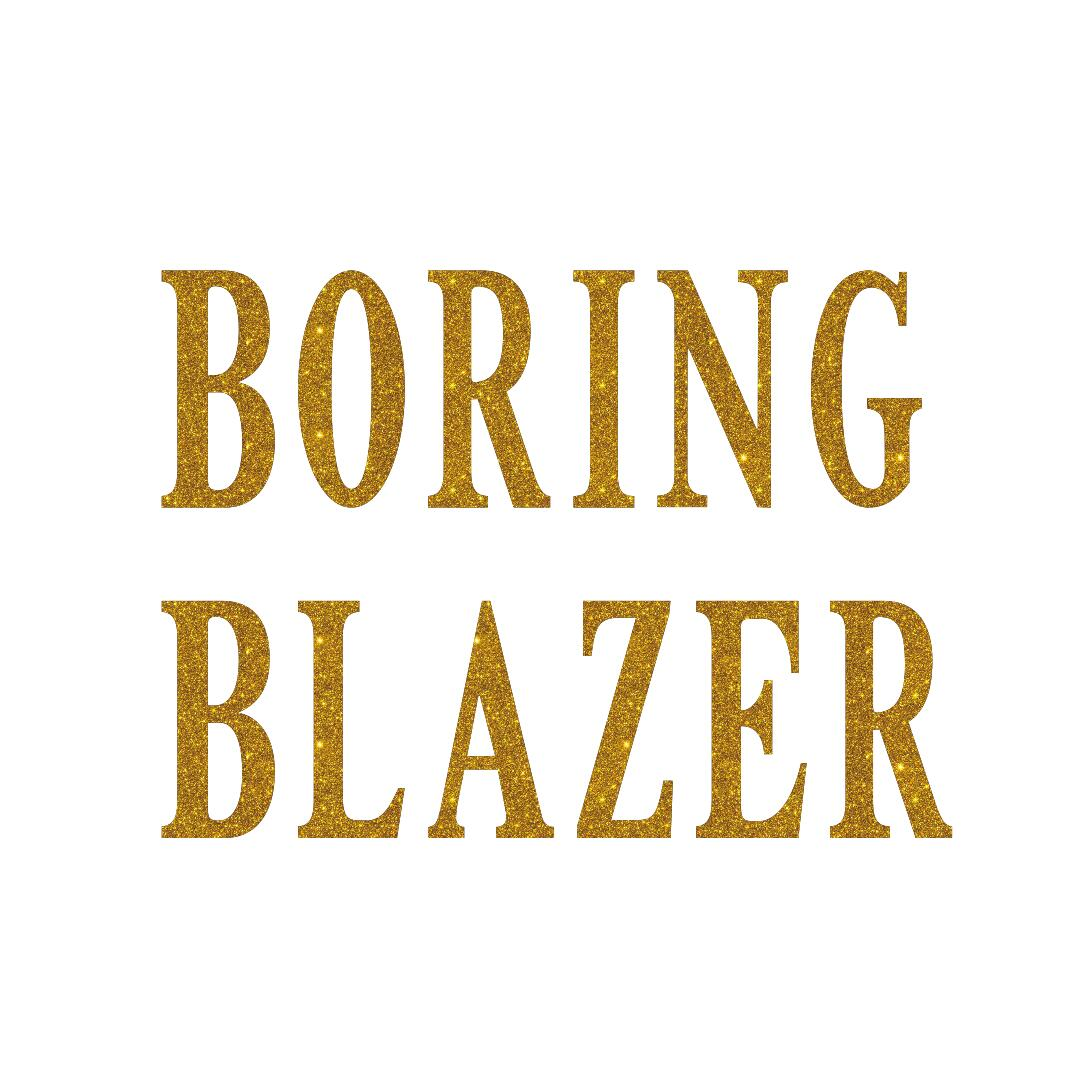boring blazer glitter iron on transfer