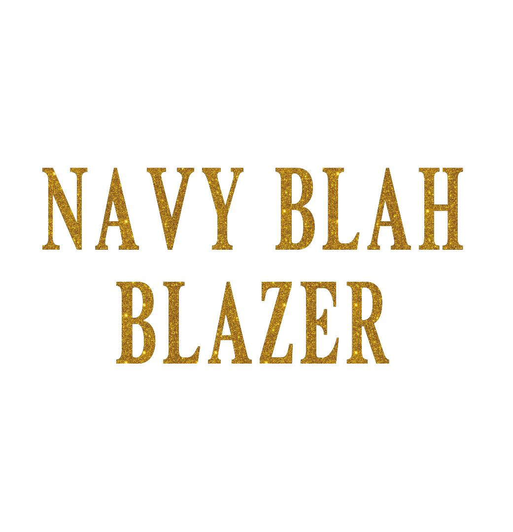 navy blah blazer glitter iron on transfer